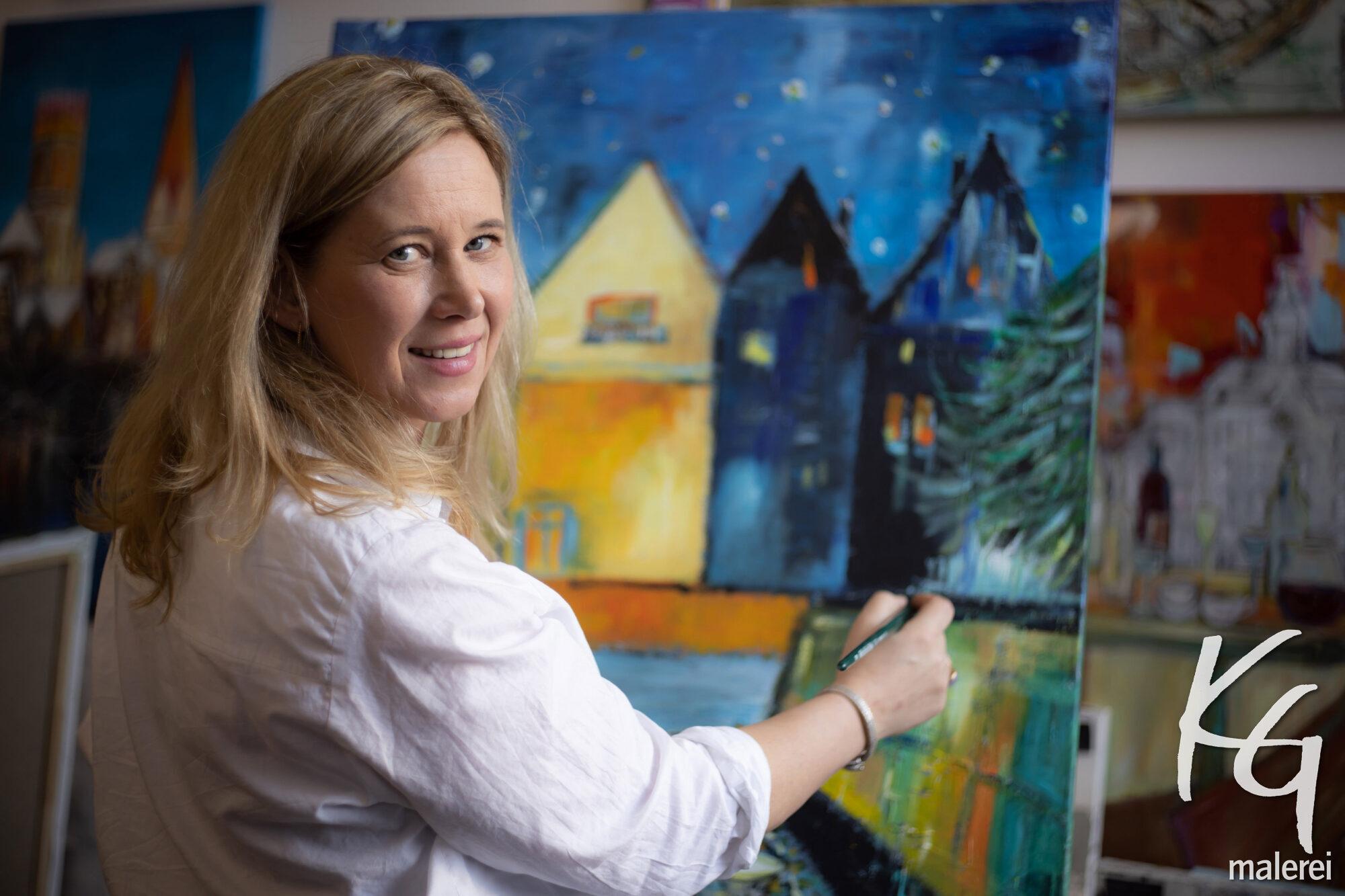 Karin Greife an der Staffelei