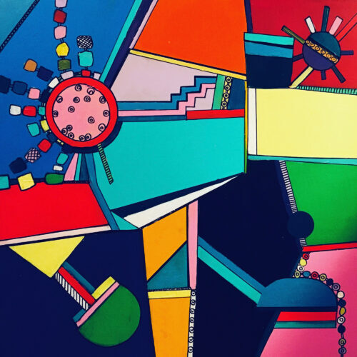 Das abstraktes Gemälde Die Zeit interpretiert farbenfroh wie die Zeit vergeht und die Uhren ticken