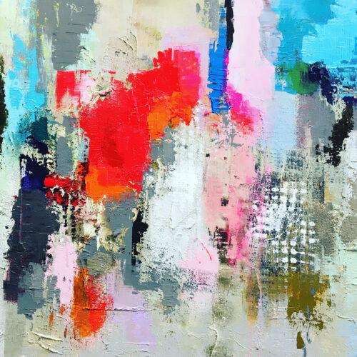 Abstraktes Gemälde Wonderful World zeigt die bunte Welt von oben in ihrer Schönheit, abstrakte Impression von Karin Greife