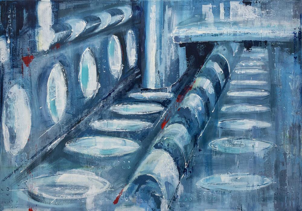 Das Gemälde ist 100 x 70 cm groß auf Leinwand und wurde 2016 in Zusammenarbeit mit dem Künstler Carl Sebastian Lepper in Acryl-Mischtechnik gemalt. Abstrahiert zeigt es die Alufix-Technik (Spann- und Fixiersystem aus Aluminium) des Unternehmens Witte Barskamp KG in Bleckede.