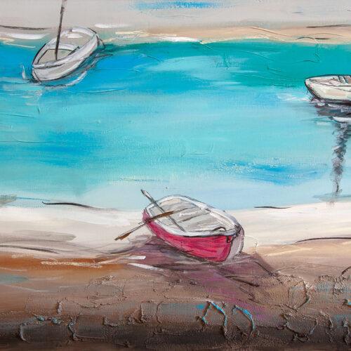Das Bild zeigt eine gemütliche, maritime Szenerie mit verschiedenen Ruderbooten am Seeufer. Es ist in den natürlichen Farben Braun, Blau, Rot, Weiss, Beige gemalt.