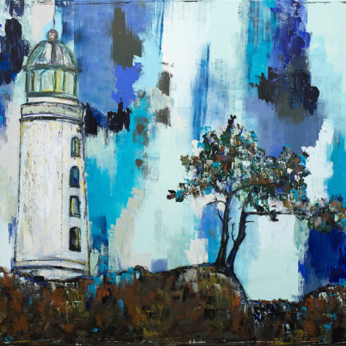 Das Gemälde Ans Meer zeigt den Leuchtturm der deutschen Insel Hiddensee mit einem Windflüchter rechts daneben vor blauem Himmel an einem schönen Sommertag