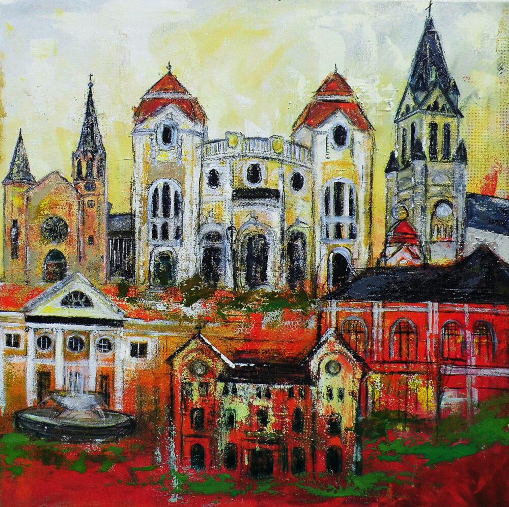 Gemälde Bad Neuenjahr mit den schönsten Wahrzeichen in den Farben des Stadtwappens, Laurentius Kirche, Kurpark, Kurhaus, Ahrweiler, Casino