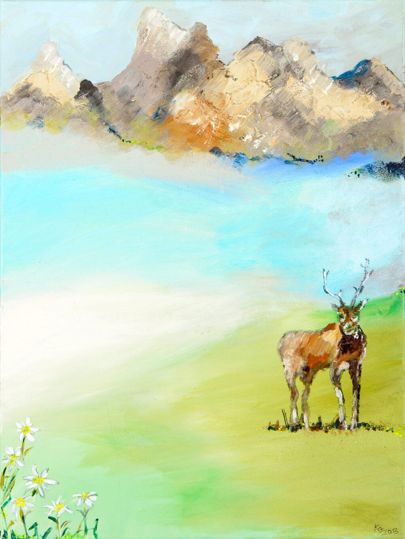 Gemälde Ruhe in den Bergen mit Hirsch. Landschaftsschinken in Öl schmückten früher neben Hirschgeweihen und ausgestopften Tieren, schweren Eichenmöbeln und tickenden Standuhren viele Wohnzimmer. Die Künstlerin Karin Greife hat das Motiv des röhrenden Hirsches in den Bergen auf moderne Weise neu interpretiert. Rechts vorne im Bild steht ein abstrahiert dargestellter Hirsch, links sieht der Betrachter blühenden Edelweiss, angedeutet sind eine grüne Wiese, ein Bergsee und ein Gebirge. Die Farben sind hell und natürlich, die Szene wirkt leicht, dabei frühlingshaft bis sommerlich und vergnügt.