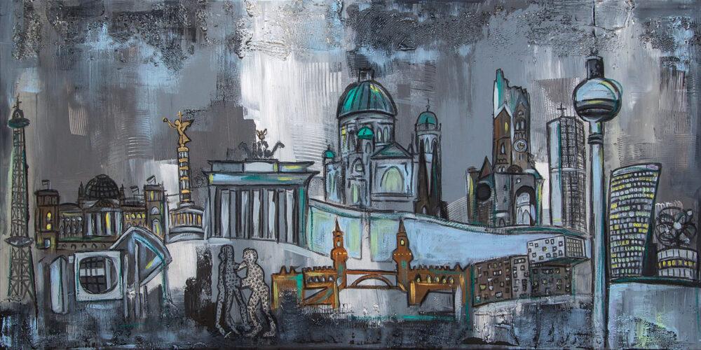 Das Bild zeigt einige Wahrzeichen der Stadt Berlin in gedeckten Grautönen, akzentuiert mit den Farben Türkis, Hellblau und Kupfer. Zu sehen sind der Funkturm, der Reichstag, das Kanzleramt, die Siegessäule, das Brandenburger Tor, die Berliner Mauer, der Berliner Dom, der Fernsehturm, die Gedächtniskirche, die Weltzeituhr, die Oberbaum-Brücke und die Molecule Man.