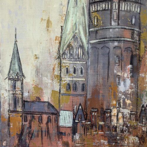 Sicht auf den Lüneburger Wasserturm und die Johanniskirche in warmen Braun, Grün- und Grautönen. Links sieht man die angedeutete St. Nicolaikirche der Hansestadt Lüneburg.