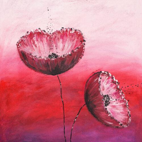 Gemälde Mohn zeigt zwei Mohnblüten vor einem rot-weiss-rosa Hintergrund mit Verlauf.