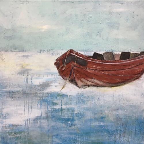 Gemälde Boot auf dem Eis