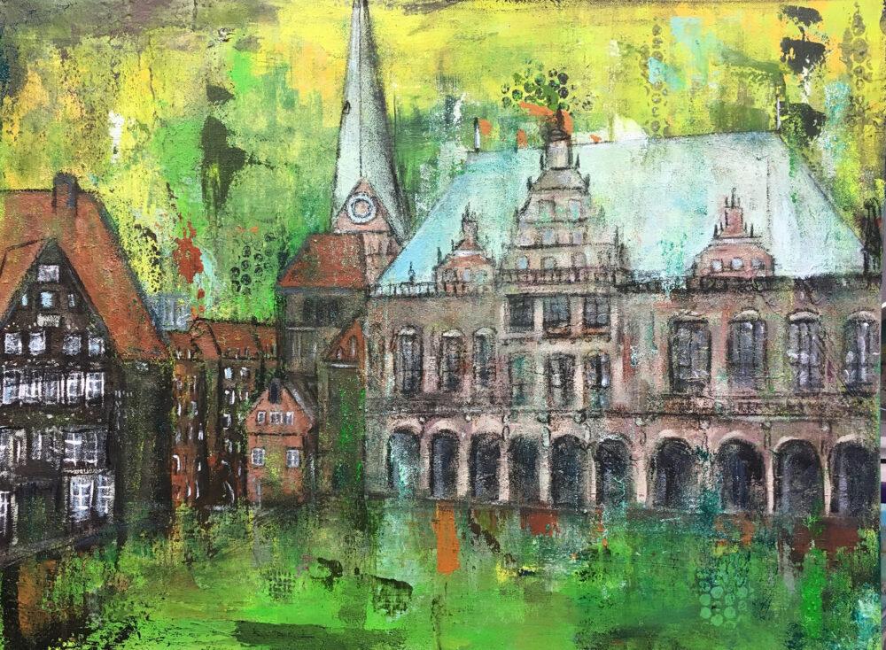 Gemälde Rathaus Hansestadt Bremen in Grüntönen abstrahiert