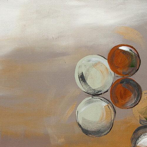 Abstraktes Gemälde Bubbles, Luftblasen in warmen Erdtönen in der Luft