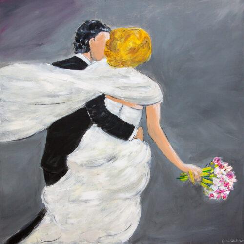 Gemälde Der schönste Tag Hochzeitspaar, Brautpaar mit Blumenstrauss geht zusammen in eine schöne Zukunft, Braut in weißem Kleid, blond, Blumenstrauss, Mann dunkelhaarig