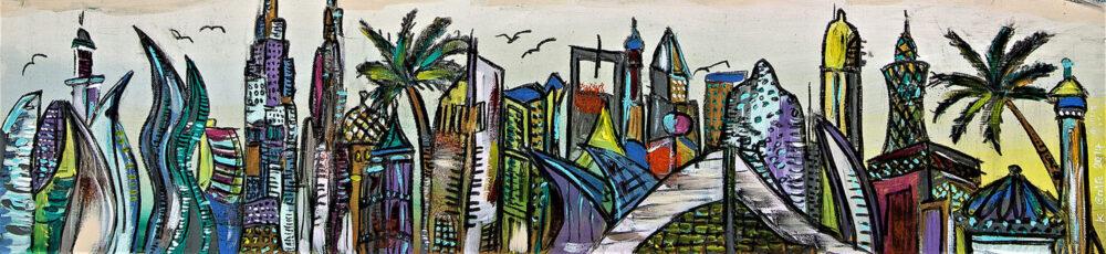 Gemälde Dubai mit Palmen, Burj Khalifa, Dubai Mall, Subersaver Pass, Burj al Arab, Jumeirah Lake Towers