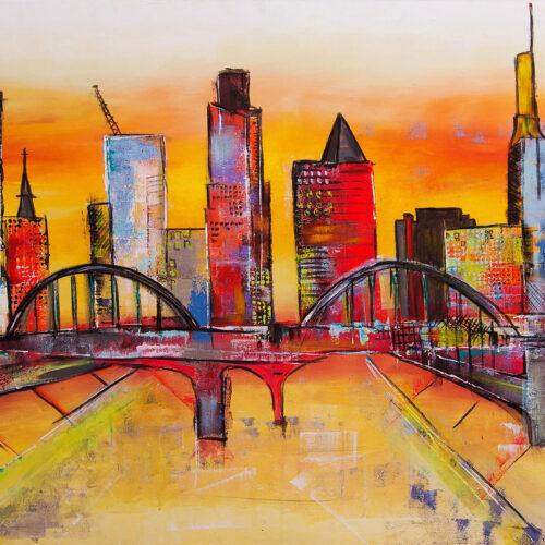 Bunt fröhliches Gemälde der deutschen Metropole Frankfurt mit dem Main in der Mitte, hinten Messeturm und Bankenviertel