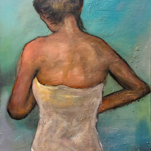 Das Gemälde Frau mit Handtuch zeigt eine Frau mittleren Alters und hochgesteckten Haaren in Rückenansicht die aus der Dusche kommend sich ein weisses Handtuch umgebunden hat. Der Hintergrund ist türkisblau.