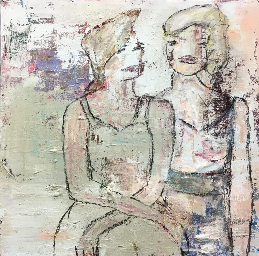 Das Gemälde Freundinnen zeigt in einem abstrahierten Stil in Pastelltönen zwei jungen blonde Frauen in Sommerkleidern, die einträchtig nebeinander sitzen. Das Bild ist modern und hat sanfte Töne.