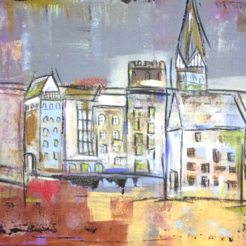 Das Gemälde Feuer am Stintmarkt Lüneburg zeigt den Lüneburger Stintmarkt am Tag nach der Brandstiftung. Das Lösecke-Haus fehlt, die Luft ist vom Feuerqualm grau und nebelig