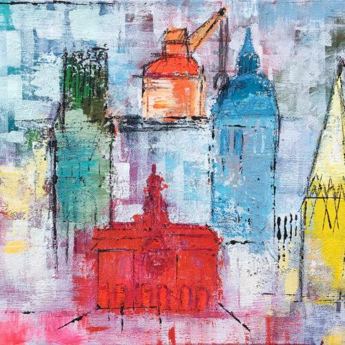 Auch als Lüneburg Kunstdruck im Online Shop von Karin Greife. Das Gemälde Frühling in Lüneburg von Karin Greife zeigt das Panaroma der Stadt Lüneburg in frühlingshaften Farben im abstrakten Stil. Zu sehen sind die drei Lüneburger Kirchen, das Rathaus und der Alte Kran.