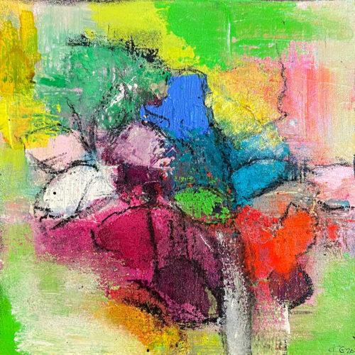 Das Gemälde Frühlingsstrauss mit Schmetterling zeigt in abstrakter Form einen bunten Strauss Blumen mit einem weißen Schmetterling vor frühlingshaften grünem Hintergrund