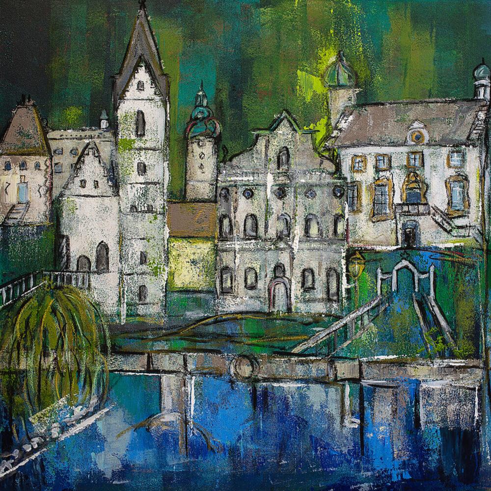 Gemälde Fürstenfeldbrück mit den Wahrzeichen der Stadt in Grün- und Blautönen: Standesamt, Altes Rathaus,