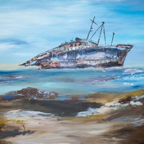 Das Gemälde Fuerteventura Westside American Star zeigt das Wrack des Dampfturbinenschiffes America in einer Bucht an der Westküste Fuerteventuras. Das Schiff hatte sich 1994 während eines Sturms vor den Kanarischen Inseln von den Leinen eines Schleppers losgerissen und strandete in der Bucht, war dort bis 2007 eine Touristenattraktion. Gemälde in natürlichen Farben, vorrangig in Blau- und Brauntönen.
