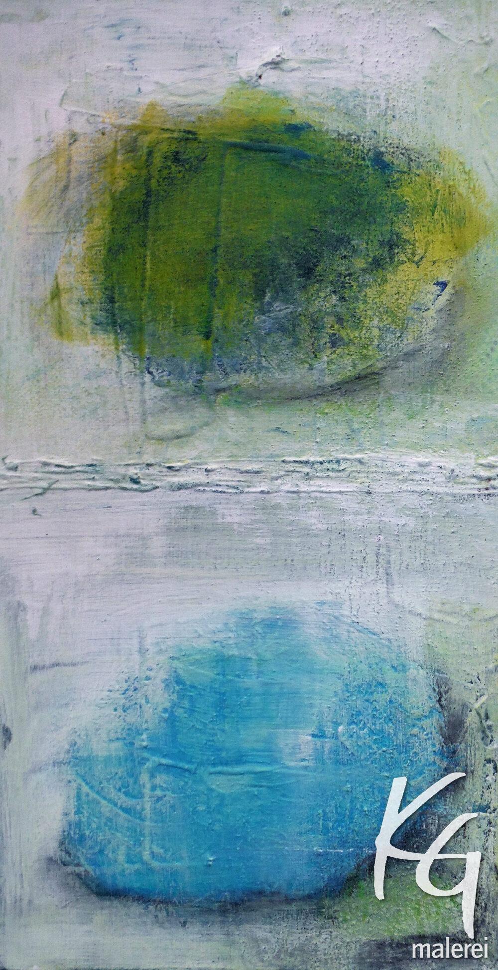 Abstraktes Gemälde Fundstücke. Steine am Meer.