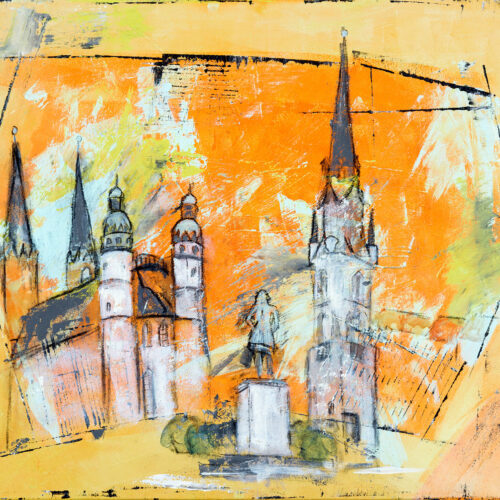 Einige Wahrzeichen der Stadt Halle an der Saale in Orangetönen im abstrakten Stil. Zu sehen sind die fünf Türme am Marktplatz. Sie gehören zur Marienkirche und zum Roten Turm. Mittig das Händel-Denkmal. Händel schaut auf die fünf Türme seiner Heimatstadt. Gedeckte aber helle Farben: Orange, Gelb, Weiss, Grau, Grün, Schwarz.
