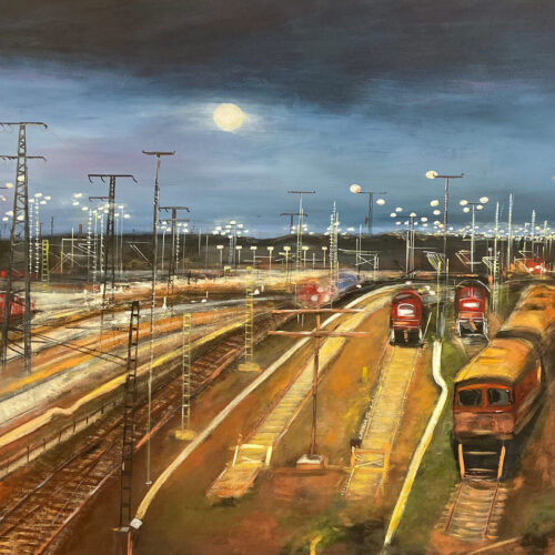 Gemälde Güterbahnhof Halle Saale unter dem Nachthimmel mit Mond mit tramlok