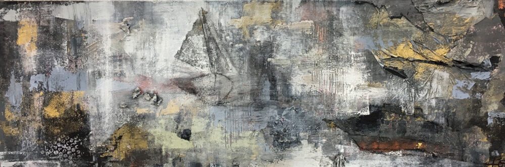 Das abstraktes Gemälde Hamburg Hafengeburtstag zeigt Segelschiffe und Frachtschiffe in abstrakter Technik bei Hamburger Schmuddelwetter