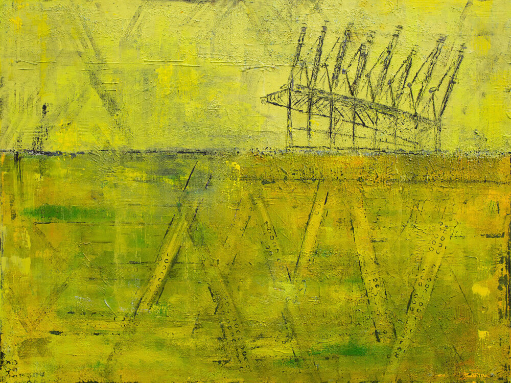 Gemälde Hamburg Hafenkräne im abstrakten Stil in Gelbtönen