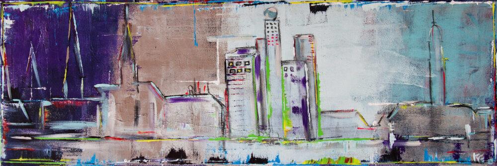 Gemälde Hamburg Hansestadt im Wandel zeigt im abstrakten Stil und in kühlen Blau-, Lila und Brauntönen Umrisse von Wahrzeichen der Hansestadt und wechselt hier zwischen historischen und neuen Gebäuden