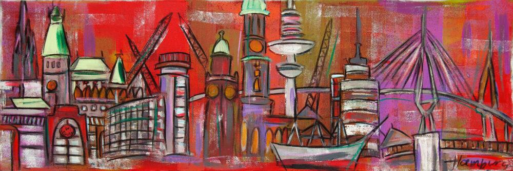 Gemälde Hamburg Skyline in fröhlichen Farben mit Millerntor, Hafen, Alster, Schiff, Köhlbrandbrücke etc. vor rotem Hintergrund.