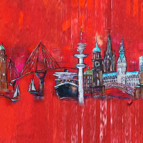 Das Gemälde Hamburg Skyline zeigt die Hamburger Wahrzeichen Michel, Rathaus, Elbphilharmonie, Fernsehturm, Köhlbrandbrücke, Frachtschiff, Hafenkräne, Segelboote.