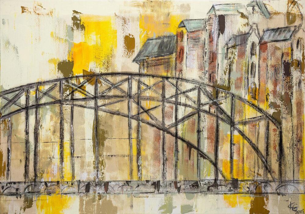 Gemälde Hamburg Brücke Speicherstadt in Braun- und Gelbtönen abstrahiert