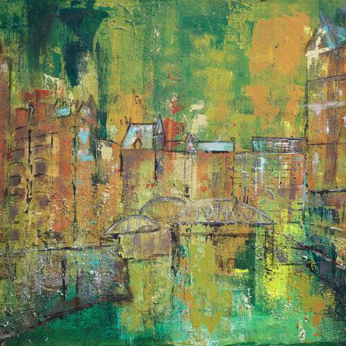 Das Gemälde Hamburg Speicherstadt zeigt im impressionistischen Stil und Grüntönen die alten Speicherhäuser der Hansestadt mit einigen der zahlreichen Brücken
