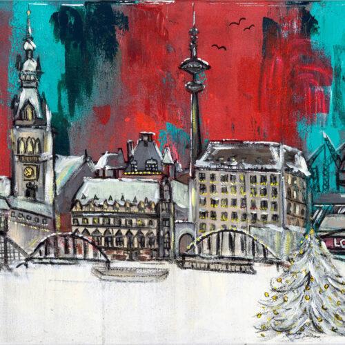 Das Gemälde Hamburg Weihnachtsstadt zeigt das Panorama von Hamburg mit Alster in weihnachtlicher Atmosphäre. Hamburger Skyline mit Rathaus, Fernsehturm, zugefrorener Alster, Weihnachtsbaum, Elbphilharmonie, Landungsbrücken etc. Es überwiegen Rot-, Grün und Weißtöne.