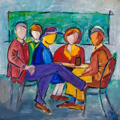 Gemälde Hemingway und seine Freunde, Das Bild entstand anhand eines Schwarz-Weiss-Fotos, welches den Schriftsteller Ernest Hemingway mit Freunden im Freien an einem Tisch sitzend zeigt. Drei Frauen und zwei Männer sind im Gemälde in dieser Caféhaus-Szene in bunter Kleidung dem Betrachter zugewandt, die Gesichter aber nur vage angedeutet. Der Hintergrund ist in Grün-/Blautönen gemalt. Das Bild vermittelt eine lockere, fröhliche Atmosphäre