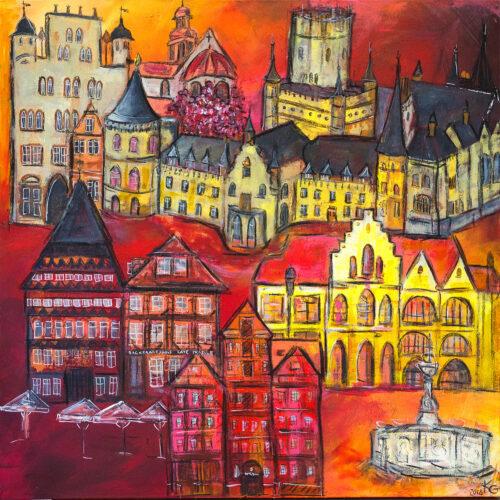 Gemälde Hildesheim Skyline mit den schönsten Wahrzeichen der Stadt in den Farben des Stadtwappens, Schloss Marienburg, Knochenhaueramtshaus, Rathaus, Wedekindhaus