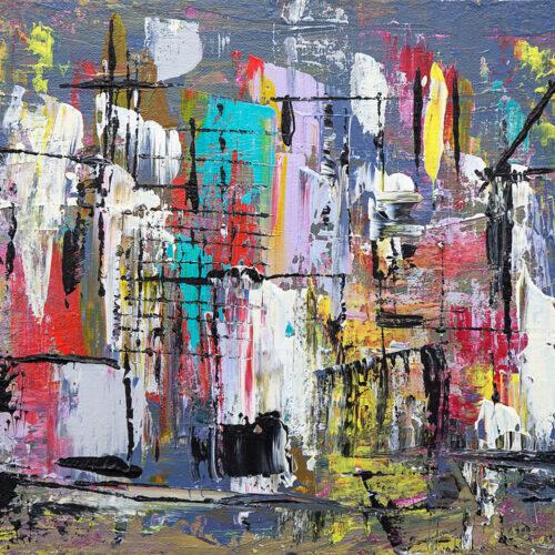 Das abstrakte Gemälde Hongkong zeigt die Stadt als abstraktes Licht- und Farbenspiel mit Hochhäusern und Türmen, Booten und Menschen.