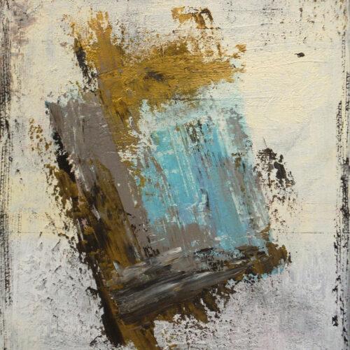 Abstraktes Gemälde Iceland. Elfenbeinweißer Hintergrund mit gold-blauer Fläche in der Mitte.