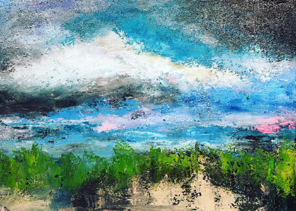 Gemälde In den Dünen am Strand, Strandlandschaft in natürlichen Farben, der Himmel ist wolkenbehangen, im Vordergrund Strandhafer mit Strandsand.