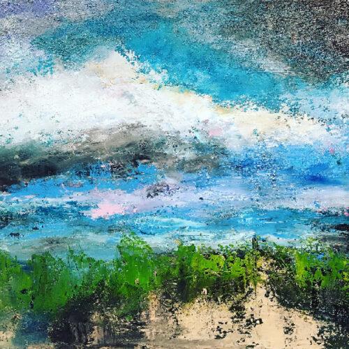 Gemälde In den Dünen am Strand, Dünenstrandlandschaft in natürlichen Farben. Der Himmel ist wolkenbehangen, im Vordergrund Strandhafer mit Strandsand.