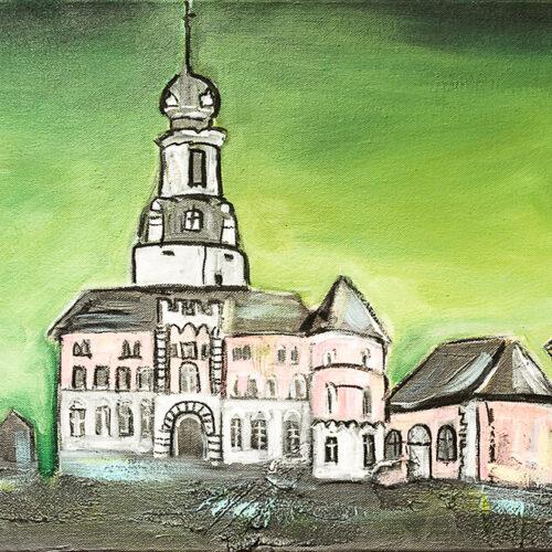 Gemälde Jever Skyline mit den Wahrzeichen Jever-Brauerei, Leuchtturm, Mühle in Grüntönen