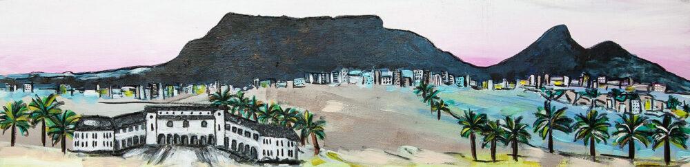 Gemälde Kapstadt Urlaub, Tafelberg, Meer und Hotelanlage