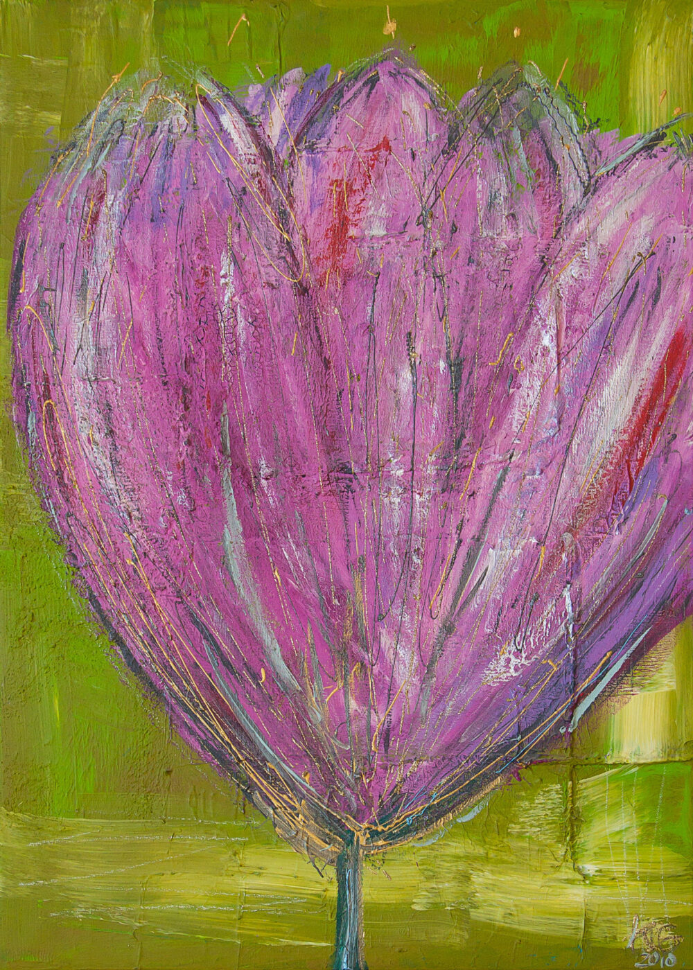 Das Gemälde Kleine Tulpe für Kate zeigt eine rosa/ lila Blume im abstrahierten, modernen Stil vor hellgrünem Hintergrund
