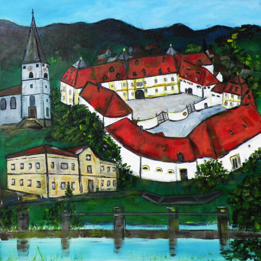 Gemälde des Ortes Knetzgau mit seinen Wahrzeichen