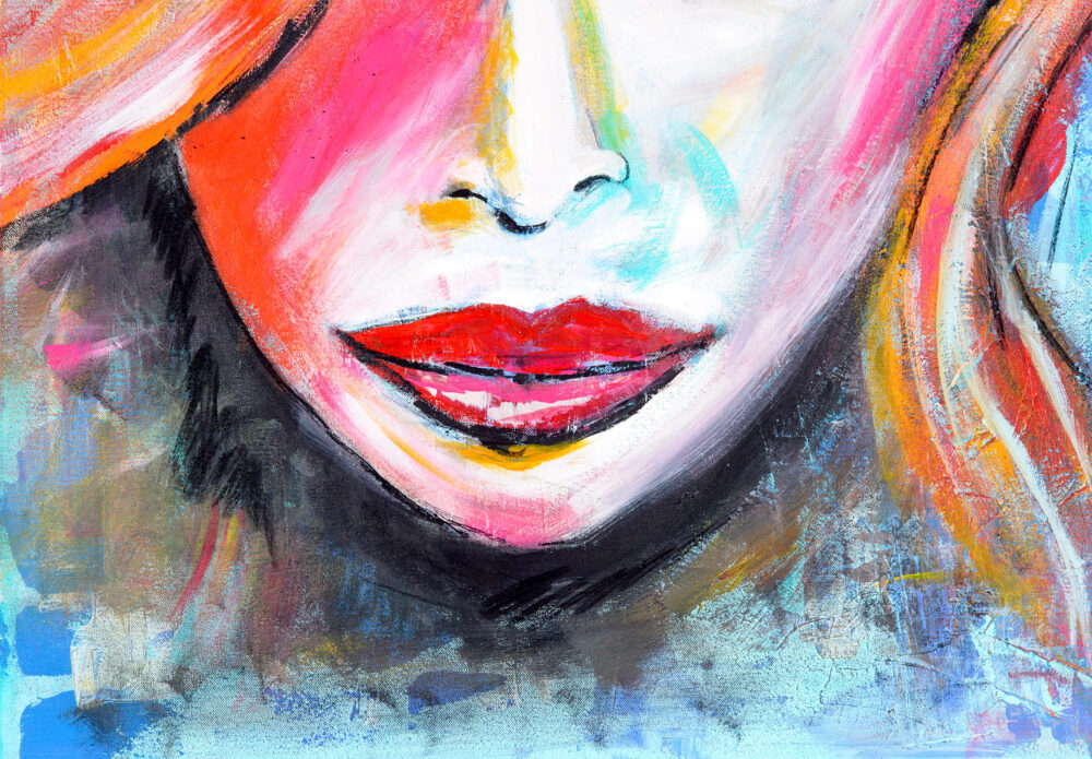 Gemälde Kussmund ist eine expressionistische Impression der unteren Gesichtshälfte einer Frau mit rotem Kussmund in kräftigen Farben (Rot, Orange, Blau, Weiss, Gelb, Schwarz, Braun, Ocker, Pink) mit abstrakten Elementen. Zu sehen sind Nase, Mund, Kinnpartie und ein Teil der Haare.