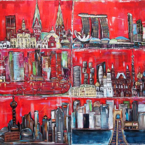 Gemälde LAP Worldwide Gesamtgemälde mit den Städten und Syklines Lüneburg, Singapur, Shanghai, Florida Beach, Cincinati, Moskau in warmen Rottönen