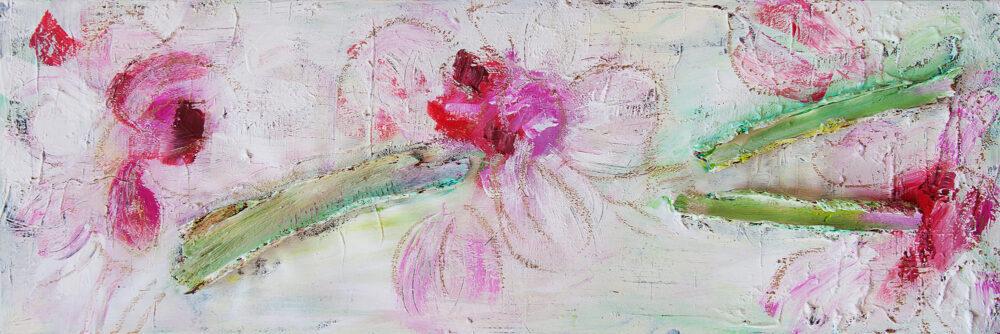 Das Gemälde Lilien abstrakt zeigt eine Impression einer Lilie in hellen Tönen mit Holzinstallation. Farben: Rosa, Pink, Rot, Weiss, Hellgrün