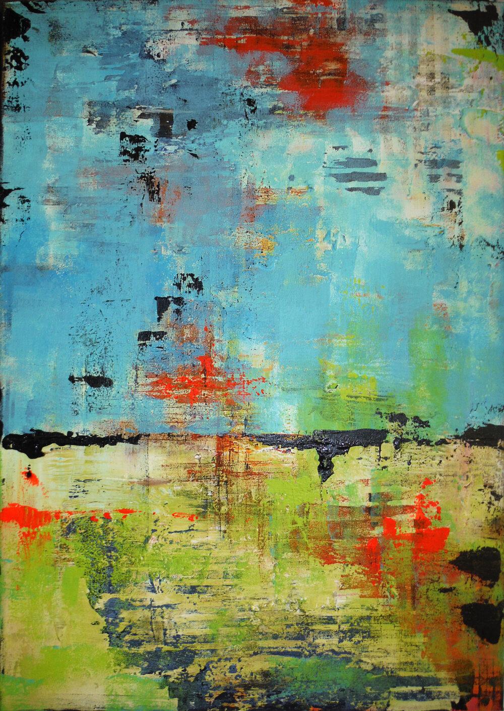 Das abstraktes Gemälde Loft zeigt eine blaue Fläche im oberen Teil und eine hellgrüne Fläche im unteren Teil. Aufgebrochen werden die Flächen durch Linien in den Farben schwarz, grau und neongrün.