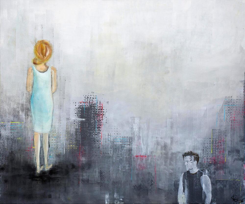 Gemälde Lonely Nights Darstellung eines Paares, dass voneinander abgewandt ist. Gemälde in dezenten Farben. Die jungen blonde Frau ist links im Bild, sie trägt ein kurzes hellblaues Kleid und wendet dem Betrachter den Rücken zu. Unten rechts im Bild sieht man den Oberkörper eines dunkelhaarigen Mannes im schwarzen Muskelshirt, er ist zwar der Frau zugewandt, schaut aber auch woanders hin. Das Bild stellt die fehlende Kommunikation von Paaren dar oder auch die Einsamkeit in Fernbeziehungen. Der Hintergrund ist in Frautönen und wird aufgelockert durch rote, gelbe und blaue feine Akzente. Moderner Stil.